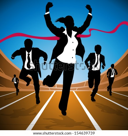 Businesswoman wins the Race  - stock vector