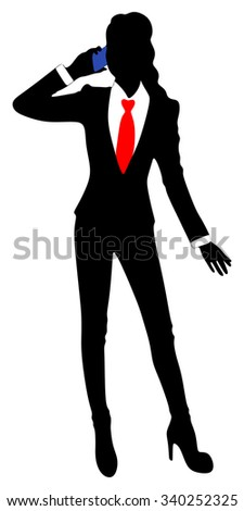 Businesswoman with a phone - stock vector