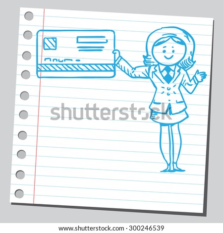Businesswoman with bank card - stock vector