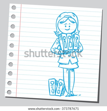 Businesswoman with binders - stock vector
