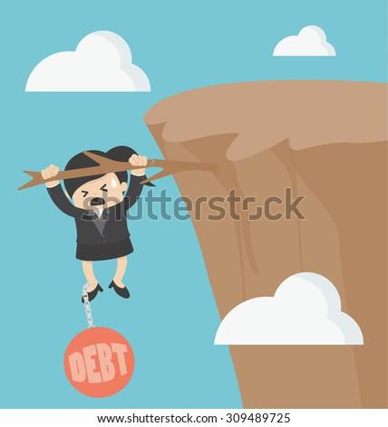 Businesswoman with debt - stock vector