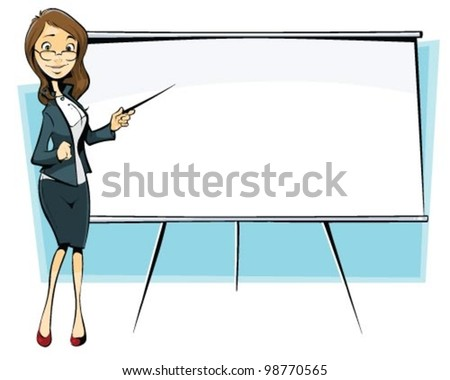 businesswoman with flip-chart - stock vector