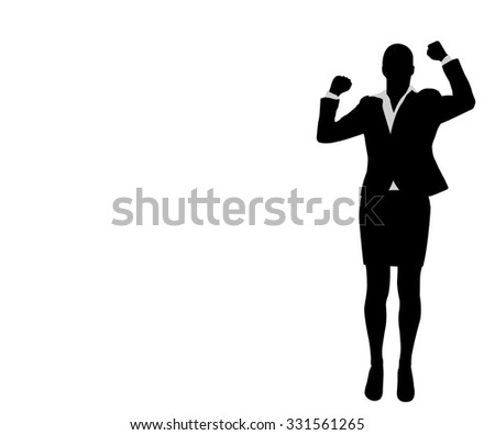 businesswoman with her hands up, celebrating success - stock vector