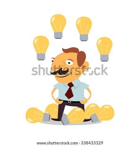 Businesswoman with lots of ideas. Success in business with the help of ideas.