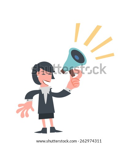 Businesswoman with Megaphone in His Hand