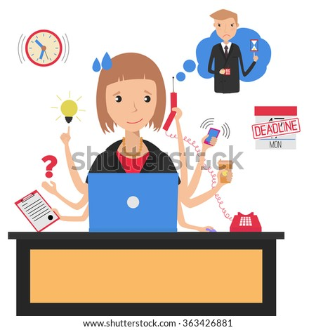 Businesswoman with multitasking and multi skill. Deadline. Angry boss. Business concept. Flat design - stock vector