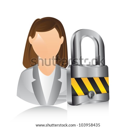 businesswoman with padlock over white background. vector