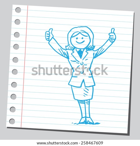 Businesswoman with thumbs up - stock vector