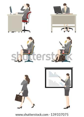 Businesswoman / Work - stock vector