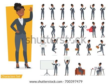 Businesswoman working character design set. Vector design.
