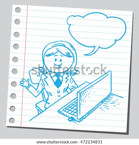 Businesswoman working on computer speaking