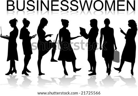 Businesswomen ,black silhouettes- vectors work - stock vector