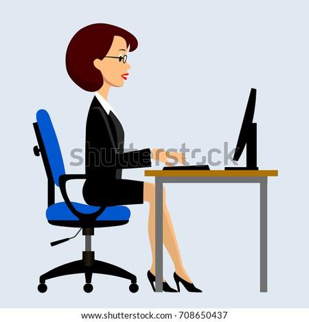 Businesswomen Sitting Computer Office Drawing Flat Stock