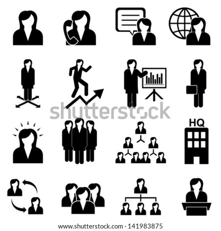 Businesswomen, teamwork and woman leader - stock vector