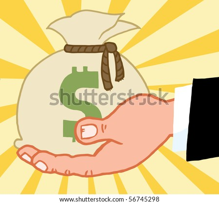 Bussines Hand Holding Money Bag - stock vector
