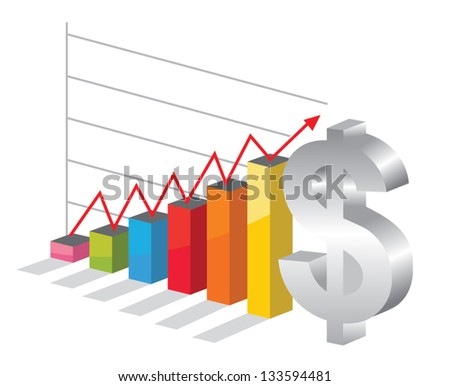 Bussiness graph with silver Dollar sign - stock vector