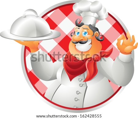 bust chef table cloth - stock vector