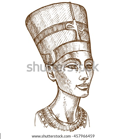 Bust of Nefertiti hand drawn