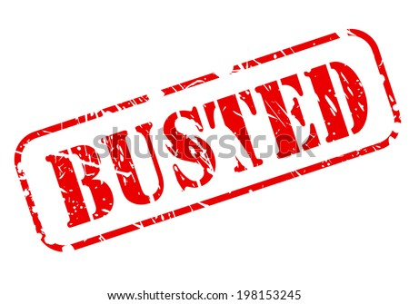 BUSTED red text stamp on white background - stock vector