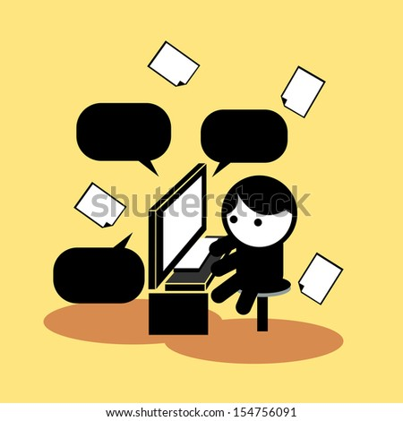 Busy Business man  - stock vector