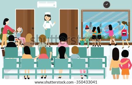busy hospital corridor activities nurse patient in queue - stock vector