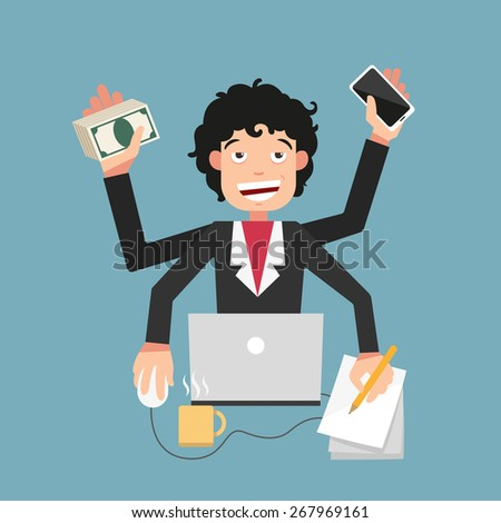Busy life of businessman - stock vector