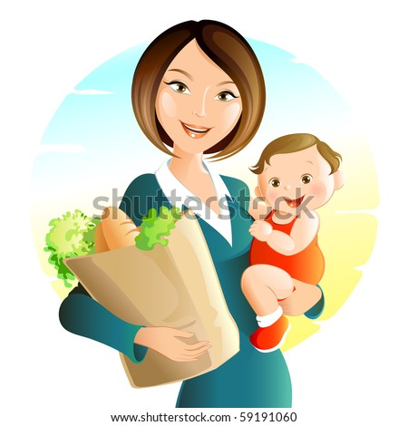 Busy Mother - stock vector