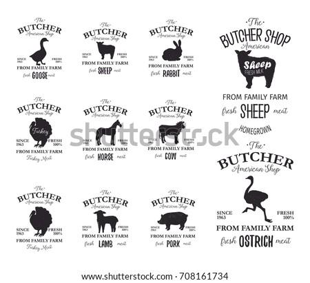 Butcher American Shop Labels Design Set Stock Vector 708161734 ...