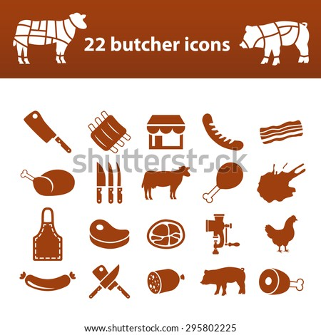 butcher icons - stock vector