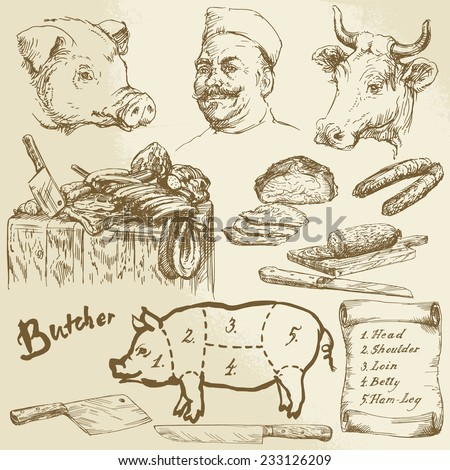 butcher, meat - hand drawn collection - stock vector