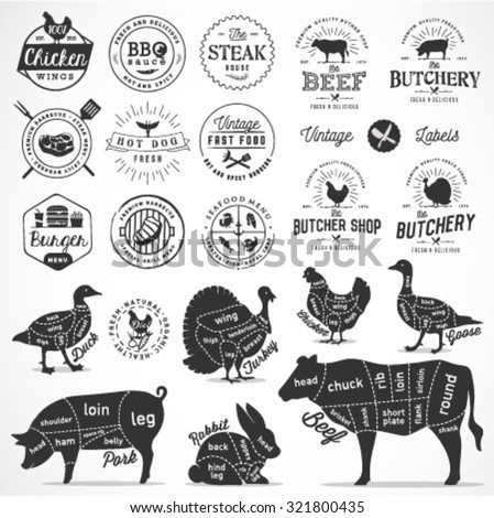 Butcher Shop and Meat Diagram Cuts. Food Icons and Badges  - stock vector