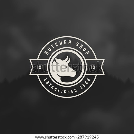 Butcher Shop Design Element in Vintage Style for Logotype, Label, Badge and other design. Cow face and knife retro vector illustration. - stock vector