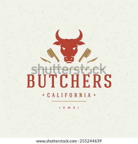 Butcher Shop Design Element in Vintage Style for Logotype, Label, Badge, T-shirts and other design. Cow face and knife retro vector illustration. - stock vector
