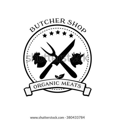 Butcher Shop Logo Design Elements Labels 380433784