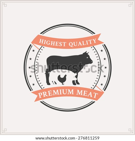 Butcher Shop Logo, Meat Label Template with Farm Animals Silhouettes