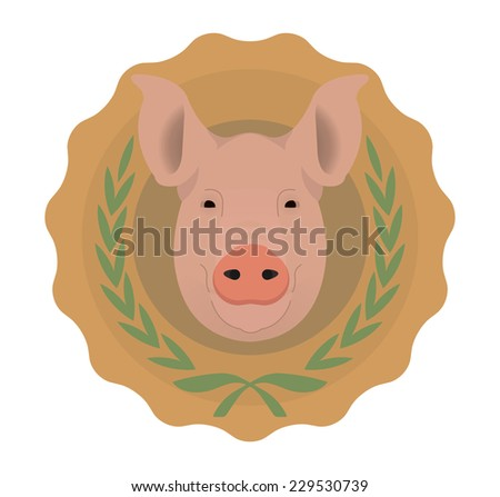Butchery organic food vector eco logo. Big pink pig head in orange stamp with laurel wreath. Color illustration isolated on  white. No outline - stock vector