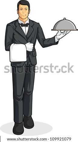 Butler or Waiter Serving Tray of Food - stock vector