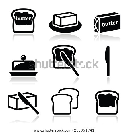 Butter or margarine vector icons set  - stock vector