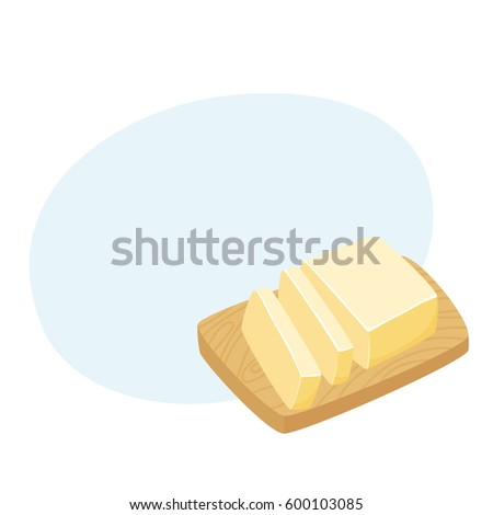 Butter stick. Sliced Margarine block on a cutting board. Baking ingredient vector illustration. Food for breakfast.