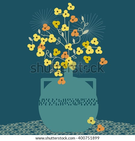 Buttercups in a vase  - stock vector