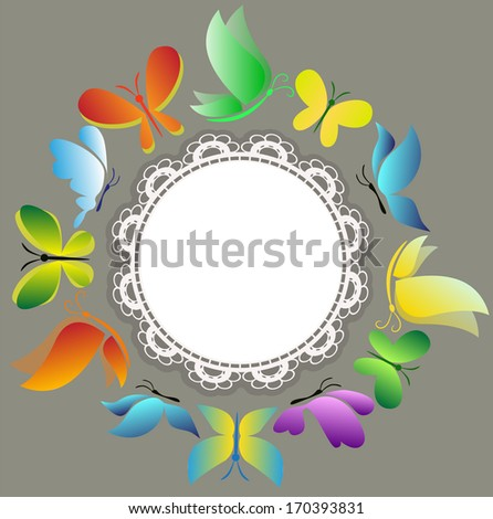 butterfies in the circle with place for the text - stock vector