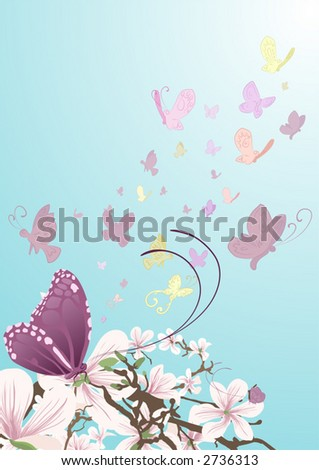 Butterflies and beautiful flowers Butterflies taking flight from beautiful flowers on a tree. No meshes used. - stock vector