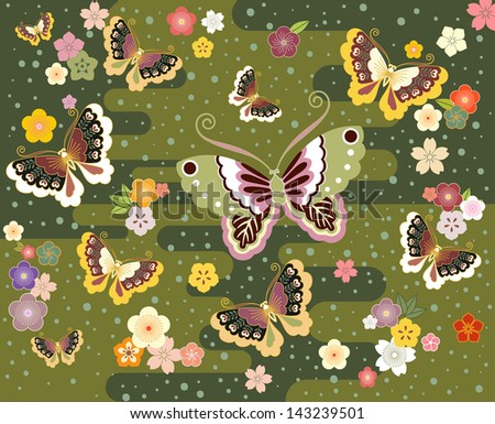 Butterflies and flowers in the Japanese Style - stock vector