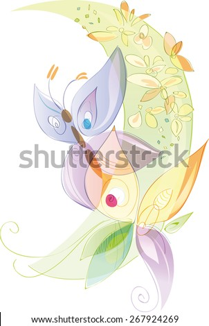 Butterflies and flowers, spring and summer season. Artistic vector illustration with transparencies, pastel colors - stock vector