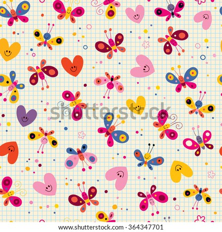 butterflies and hearts seamless pattern