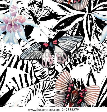 butterflies and orchid watercolor exotic pattern, graphic background - stock vector