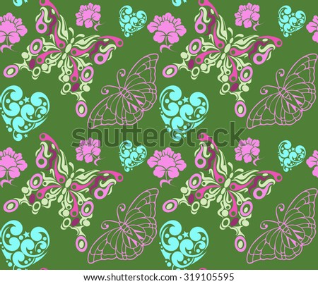 Butterflies background modern stylish texture colorful background seamless pattern wallpapers model in a retro style for your design vector - stock vector