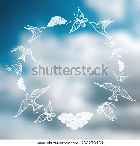 Butterflies, birds, clouds in the form of a circle on the sky background. Vector blurred background. eps 10 - stock vector