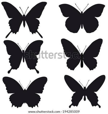 butterflies, black silhouettes on white background, vector - stock vector