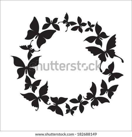 Butterflies cicrle - stock vector